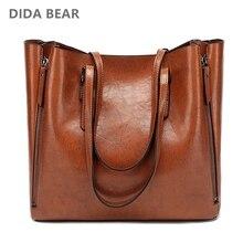 DIDA BEAR موضة جديدة حقيبة يد فاخرة للنساء حقيبة كبيرة مفتوحة من أعلى الإناث دلو حقائب كتف سيدة جلدية حقيبة ساعي حقيبة تسوق