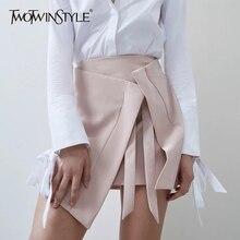 パッチワークスカート女性ハイウエストレースアップボディコン非対称スカート TWOTWINSTYLE 2019 夏のファッションスウィート女性の服