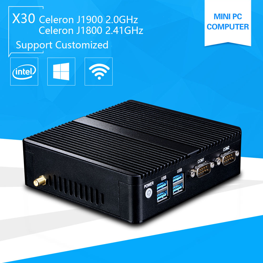 Mini Pc with Windows 10 celeron 3755 J1800 Quad core J1900 2.41GHz Pentium 3805U Industrail Computer port PC 2*Lan port+2*RS232 hot sale celeron mini pc desktop computers dual lan mini pc x29 j1800 j1900 2 gigabit lan hdmi vga windows 7 win10 ubuntu