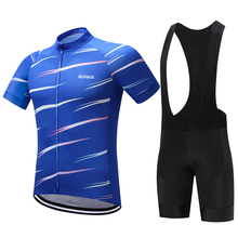 Cycling Suits Men 2018 Summer Short Sleeve Clothing Set Blue MTB Road Mountain Bike Clothes with Bib Ropa Ciclismo