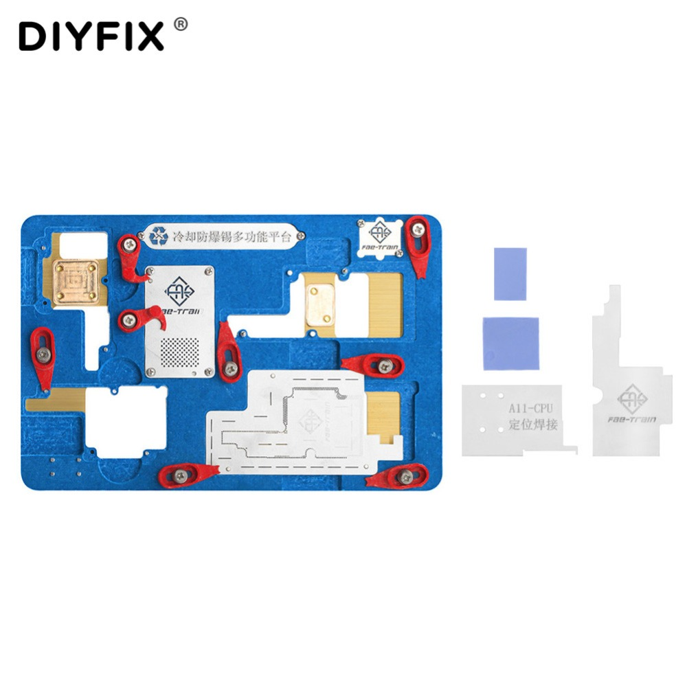 DIYFIX Logic Board Clamps BGA Repair Tool for iPhone X  A11 Motherboard IC Chip Ball Soldering Net Planting Tin Fixture Holder pmtc 250k 0 5mm leaded free bga solder ball for bga repair