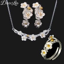 DIEERLAN Fashion Wedding Bridal Jewelry Sets 925 Sterling Silver Plum Flower Necklaces Ring Earrings for Women Statement Jewelry