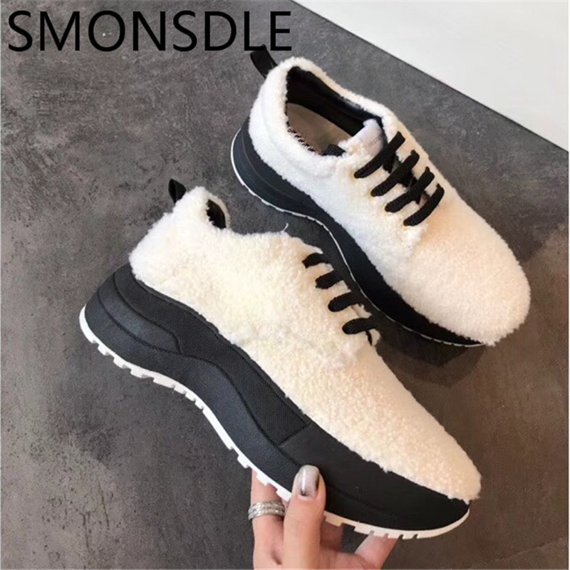 SMONSDLE 2018 New Fashion Woman Winter Casual Flats Round Toe Lace Up White Wool Women Warm Sneaker Flat Platform Shoes Women new arrivals 2016 l solid plain lace up round toe platform flat heels comfortable flats sale women fashion shoes