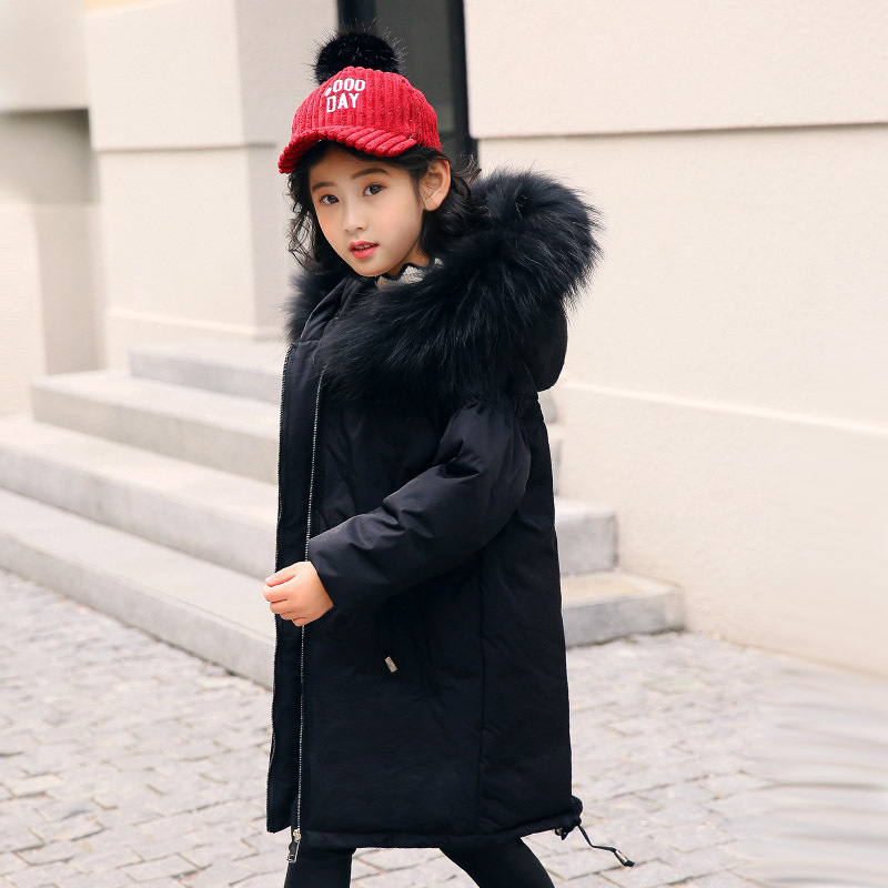 Russian Jacket Down Parkas for Girls Fur Hooded Thicken Warmly Long Coat 2018 Winter Children Clothing Girls bala 2016 winter girls down parkas thermal kids jacket long for girls coat thicken clothes cold proof children overcoat clothing