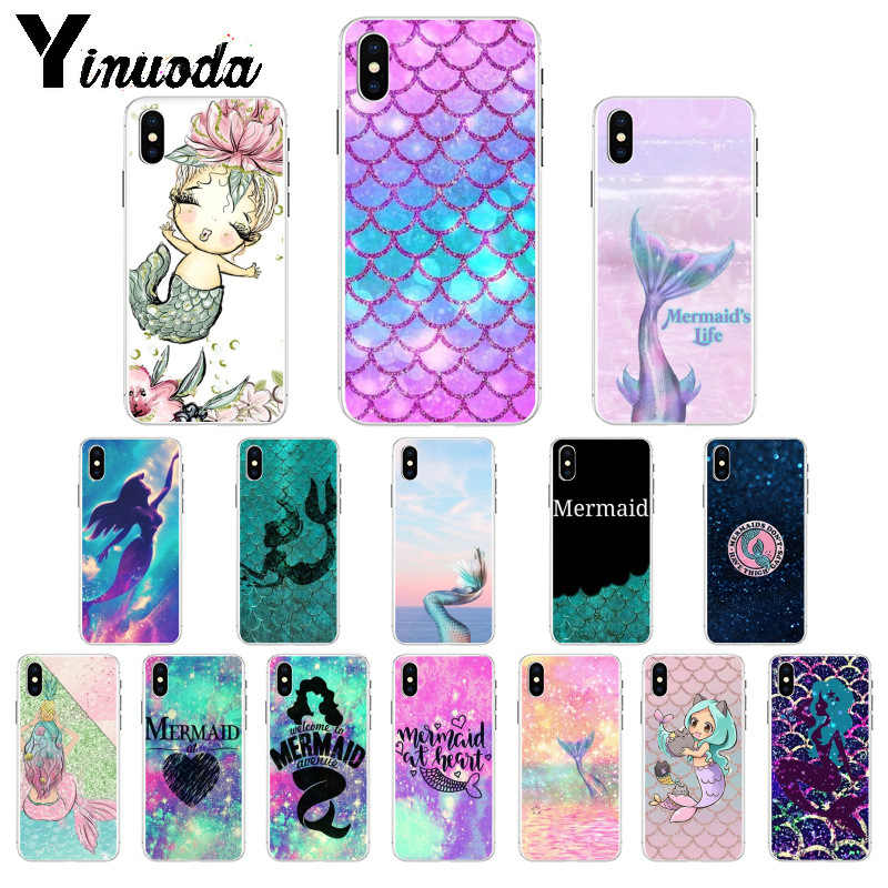 Yinuoda Mermaid Tail Scale TPU Soft Silicone Phone Case Cover for iPhone X XS MAX 6 6S 7 7plus 8 8Plus 5 5S XR