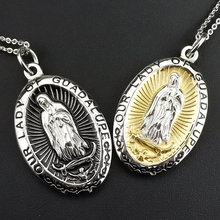 "AMUMIU ""OUR LADY GUADALUPE"" Religious Wholesale Jewelry Necklace Women Men Fashion Accessories Virgin Mary Pendant HZP217"