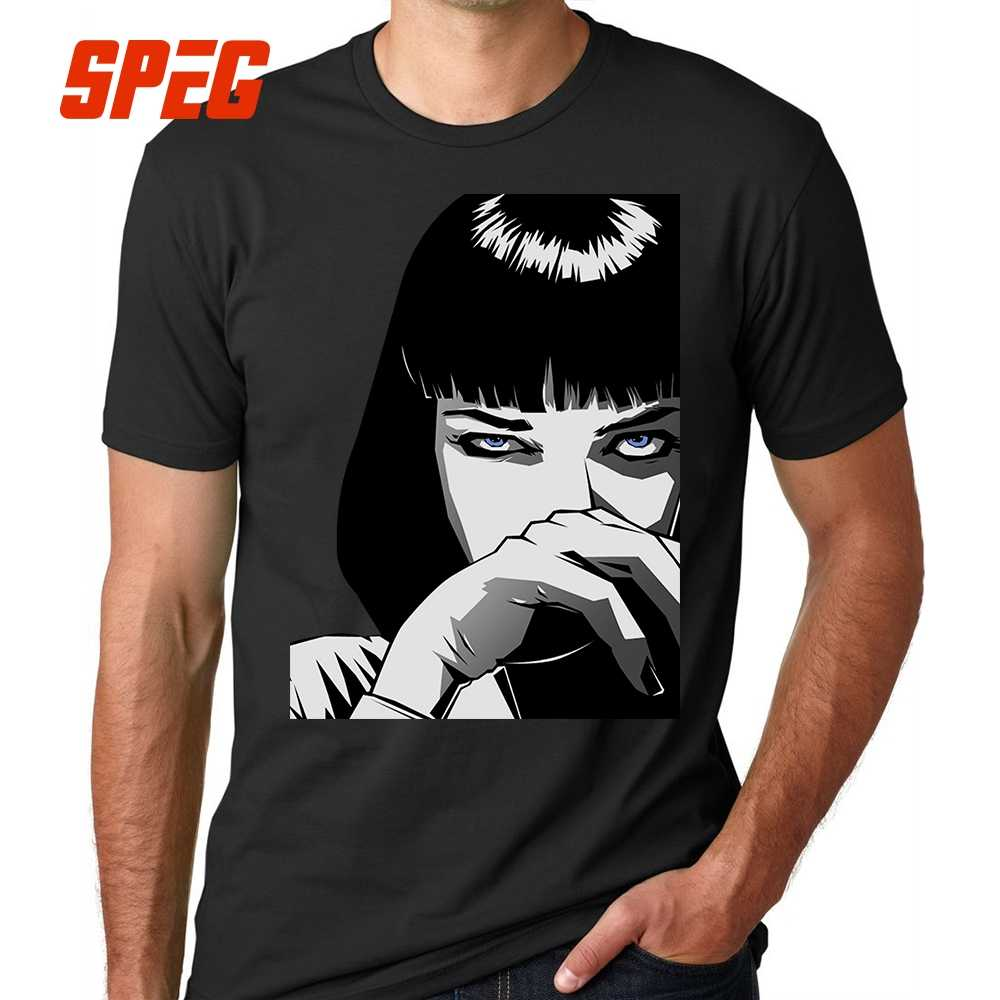 981289818 Sweat T Shirts Pulp Fiction Mia Wallace T-Shirts for Men Male Cotton Tees  Great