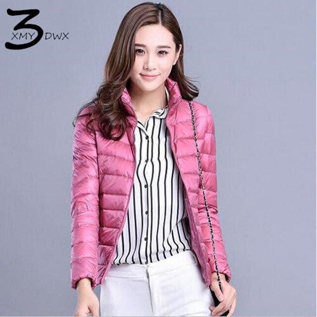 XMY3DWX new Fashion women keep warm Super light thin 90% White duck down down jacket/Women stand collar Casual down coat S-XXXL