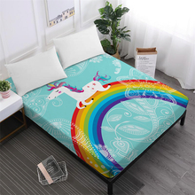 Home Textile Cartoon Unicorn Bed Sheet Colorful Rainbow Fitted Sheet Flowers Print Mattress Cover Polyester Bedclothes цена