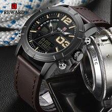 RECOMPENSA Mens Relógios Moda Relógio Do Esporte Dos Homens À Prova D' Água Militar Data Digital LED relógio de Quartzo Relógio de Pulso Masculino Relógio Relogio masculino