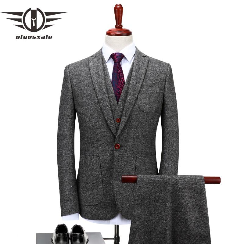 Plyesxale Brand Wool Suit Men 2018 Autumn 4XL Slim Fit Gray Wedding Suits Elegant Mens Three Piece Business Casual Suit Q122