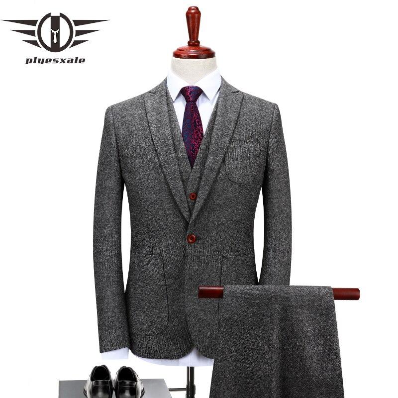 Plyesxale Merk Wol Pak Mannen 2018 Herfst 4XL Slim Fit grijs Bruidskostuum Elegante Heren Driedelige Business Casual Pak Q122-in Pakken van Mannenkleding op  Groep 1