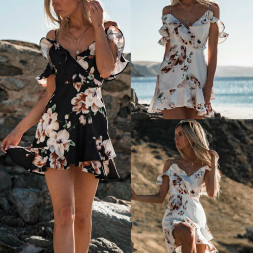 <font><b>Boho</b></font> <font><b>Floral</b></font> <font><b>Print</b></font> <font><b>Dress</b></font> Women Summer Party Evening <font><b>Beach</b></font> <font><b>Short</b></font> Mini Sundress <font><b>Sexy</b></font> <font><b>V</b></font> neck Sleeveless <font><b>Dresses</b></font> Vestido image