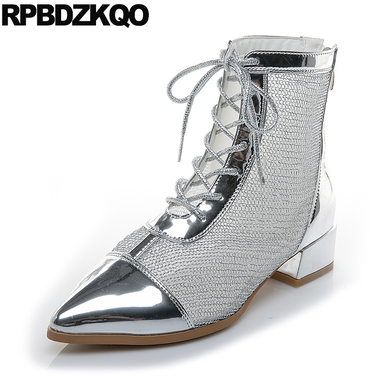 lace up 2018 sandals ladies silver pointed toe metallic patent leather chunky shoes summer ankle mesh women boots medium heel chunky heel square toe patent leather sandals