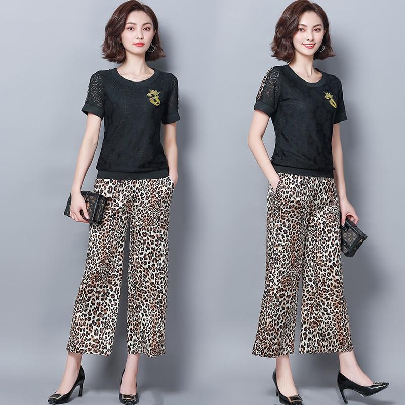 Summer Black Two Piece Sets Women Plus Size Short Sleeve Lace Tops And Leopard Print Wide Leg Pants Suits Casual Office M-5xl 28