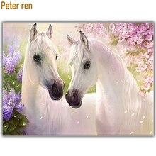 Peter ren DIY Diamond painting Full Diamond embroidery icon square mosaic Diamante Shadows of shadows Peach Blossom White Horse silver shadows