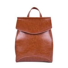 Нефть воск коровьей женский сумка на плечо кожа новый Корейский моды большой емкости рюкзак для отдыха и путешествий