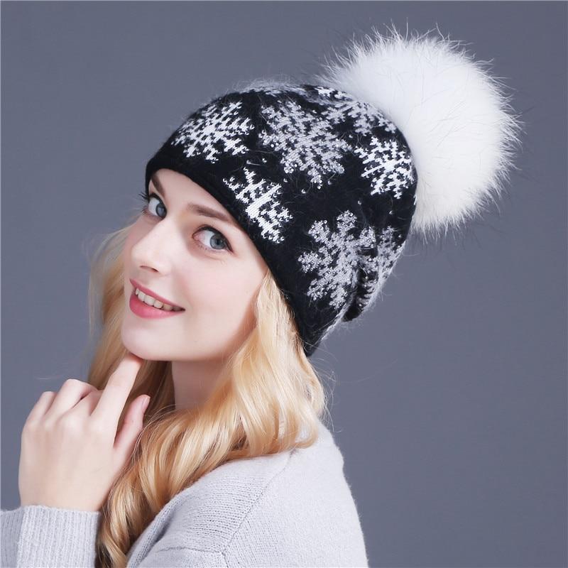 xthree реального норки пом англичане шерсть мех кролика вязаная шапка skullies новогодний колпак для женщин девушки шляпа feminino шапочки шляпа