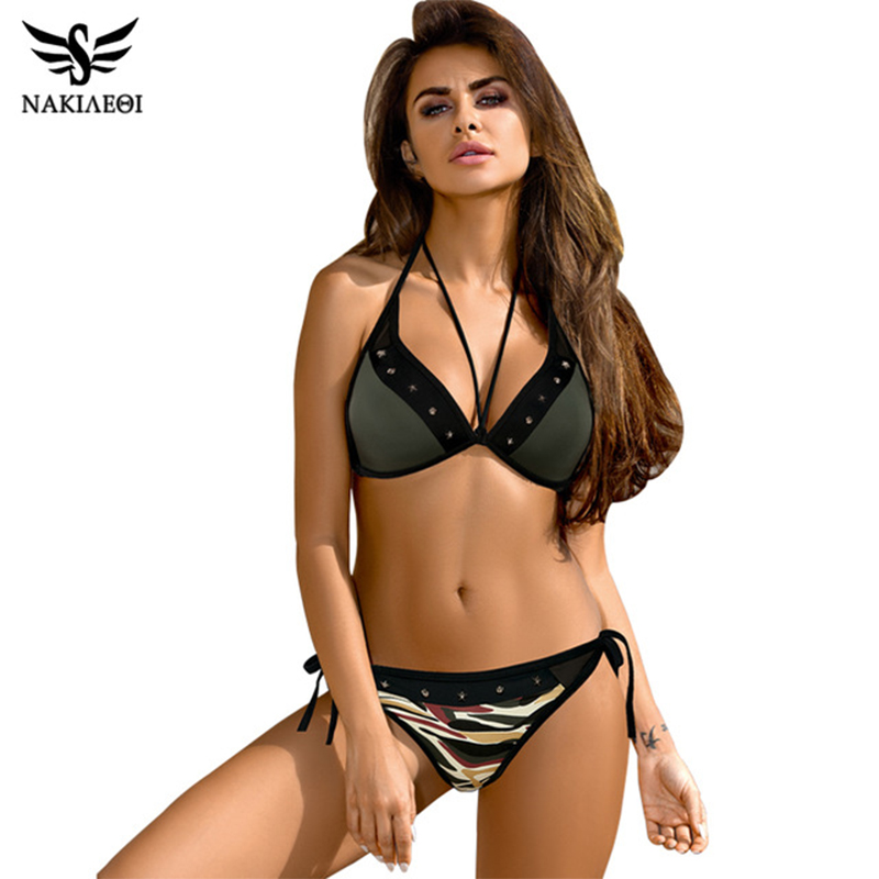 NAKIAEOI 2018 Sexy Bandage Bikinis Women Swimsuit Push Up Swimwear Halter Top Brazilian Bikini Set Beach Bathing Suits Swim Wear