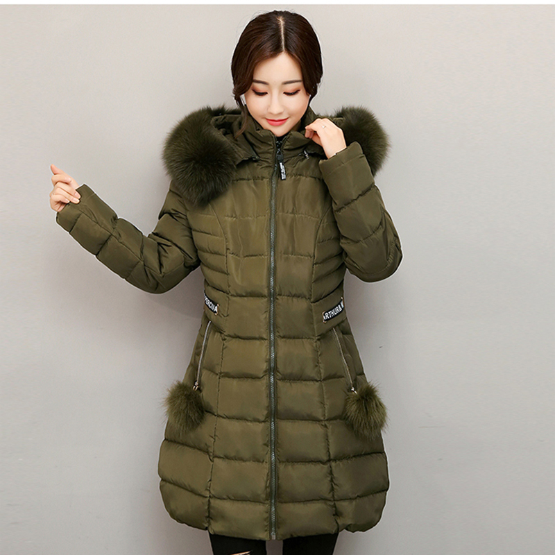 2017 Winter Long Slim Women Coat Fashion Ladies Wadded Parka Faux Fur Collar Hooded Jacket Solid Clothing Cotton Outwears YP0448 winter jacket women casual long hooded parka warm fur collar solid color wadded slim fit coat female fashion thick overcoat