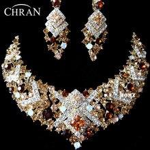 De alta Calidad de Cristal Austriaco Rodio Plateado Necaklace Pendientes Set Moda Nupcial Conjuntos de Joyas de Boda