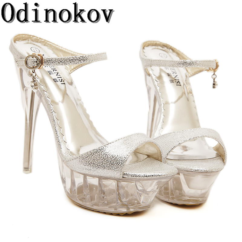 14cm Heel Sexy Silver High Heels Platform Square Heels Buckle Strap Peep Toe Summer Silver Wedding Sandals Shoes Glitter Pumps