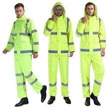 Traffic duty fluorescent green reflective raincoat rain pants set labor insurance walking anti-smashing split