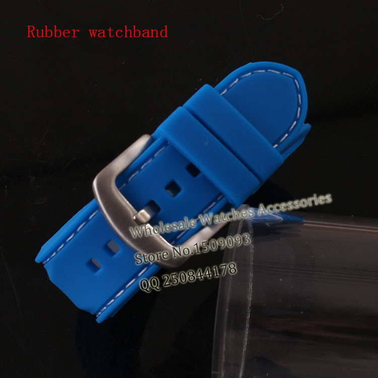 BlueNatural Rubber watchband strap bracelets 22mm(buckle 20mm) TOP grade Silicone Accessories with white stitched Free Shiping alligator leather watchband brand style straps bracelets wristwatches accessories with free buckle deployment 20mm 21mm 22mm new