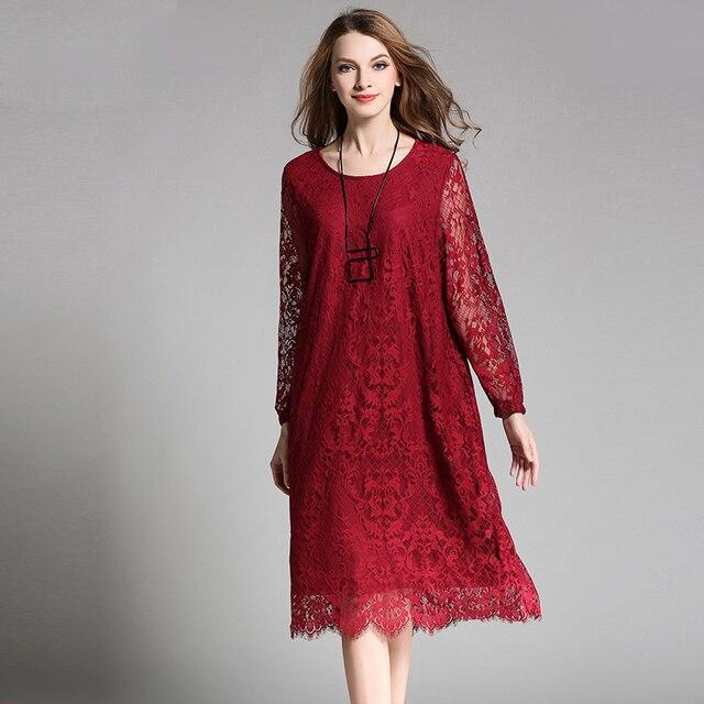 31e46f6639 2019 new arrival plus size women lace long dresses fashion design women  spring hollow lace dress