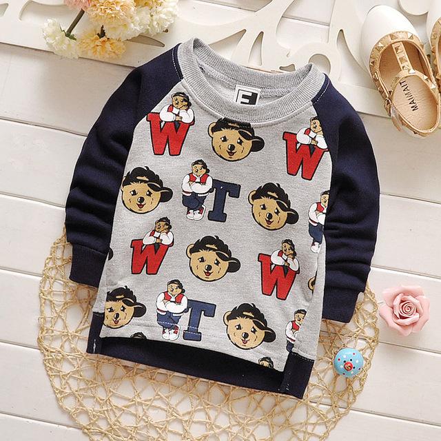 O envio gratuito de 2016 menino Meninas Carta Imprimir T-Shirt Da Criança Do Bebê tops de Manga Longa de algodão camisa dos miúdos roupa das crianças