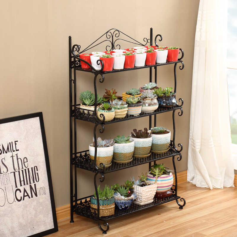 Wrought iron multi-layer railings floor stand balcony bonsai plant stand rack