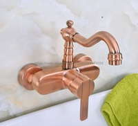 Bathroom Faucet Red Copper Antique Kitchen Mixer Tap Faucet Wall Mounted Single Handle Hot and Cold Taps Nnf935