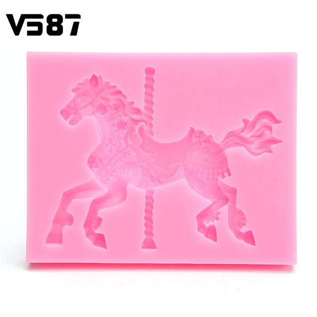 Del Fondente Del silicone 3D Carousel Horse Torta Stampi Da Cucina ...