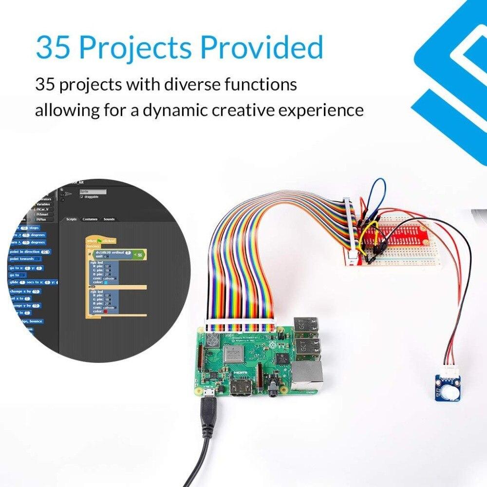 כרטיסי טלויזיה ועריכה SunFounder פטל Pi 3 דגם B + 37 מודולים חיישן קיט V2.0 עבור RPI 3 B +, 2B, A +, אפס (4)