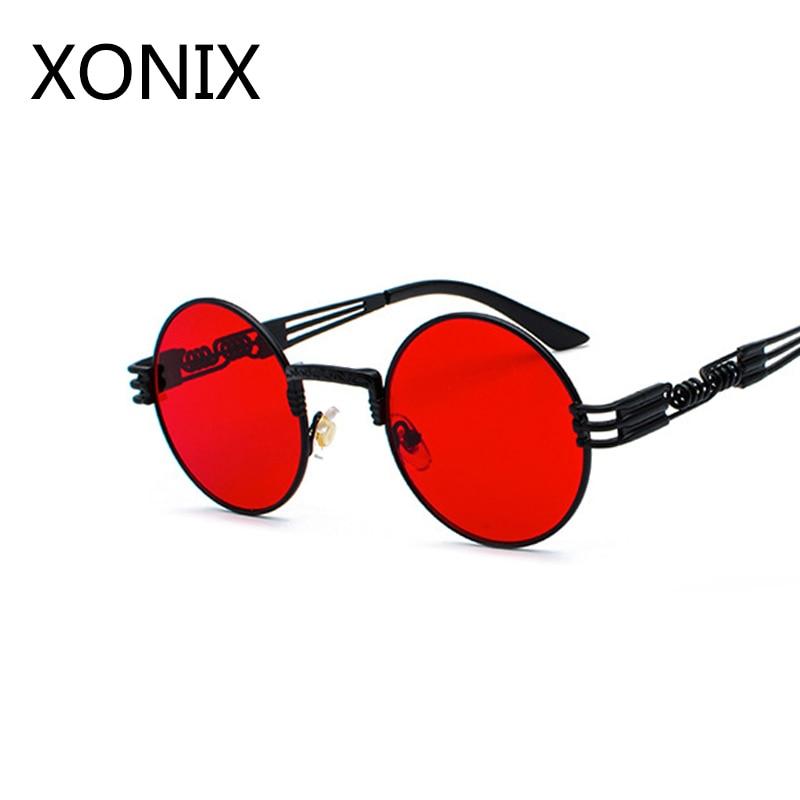 35c82f99754e4 Achat XONIX Or En Métal De Mode lunettes de Soleil Rondes Steampunk lunettes  de Soleil Des Femmes Des Hommes Rétro Vintage Revêtement Miroir Lunettes ...