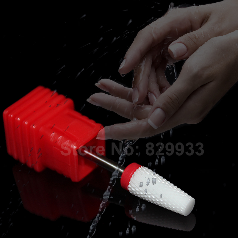 Ceramic Nail File Drill Bit Beauty Care Manicure Pedicure Nail Salon Electric Machine Cutter Tool 3/32'' Umbrella T White Fine