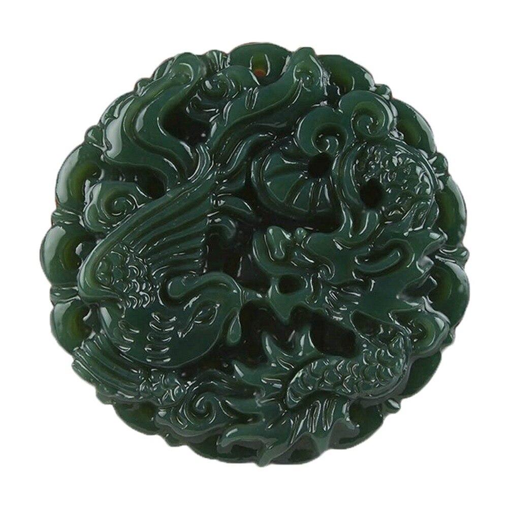 Jades vert naturel sculpté à la main Dragon Phoenix pendentif collier chandail chaîne cadeau en gros