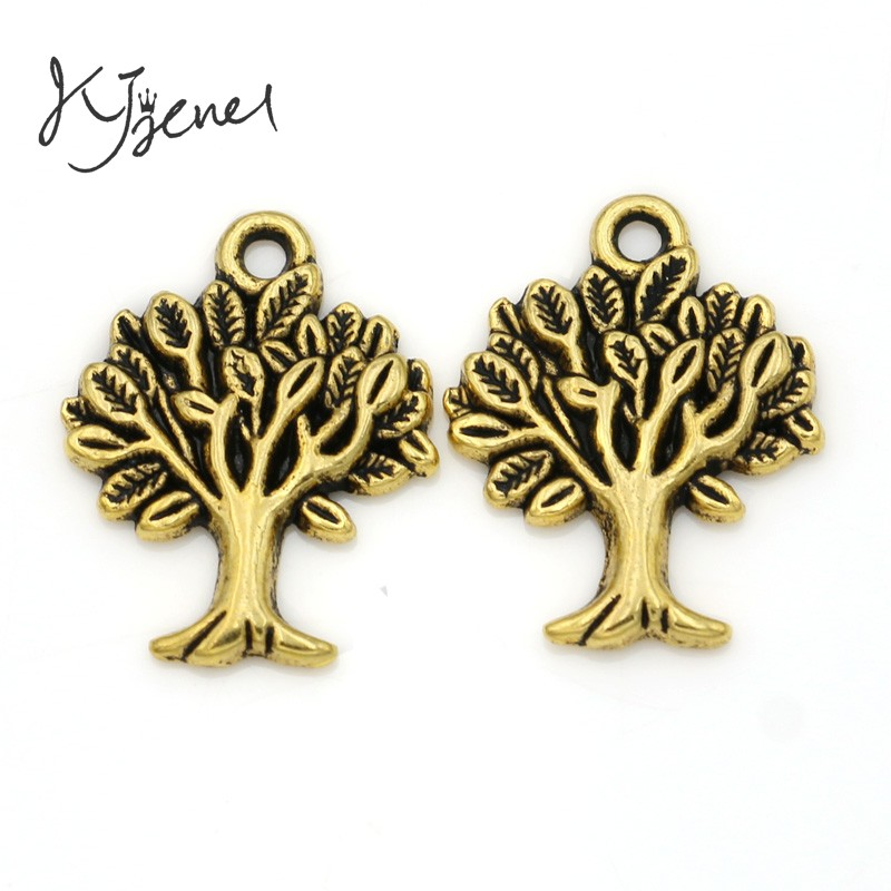 20PCS Tibetan Style Pendants Tree Of Life Charms Links Antique Silver 22x17mm