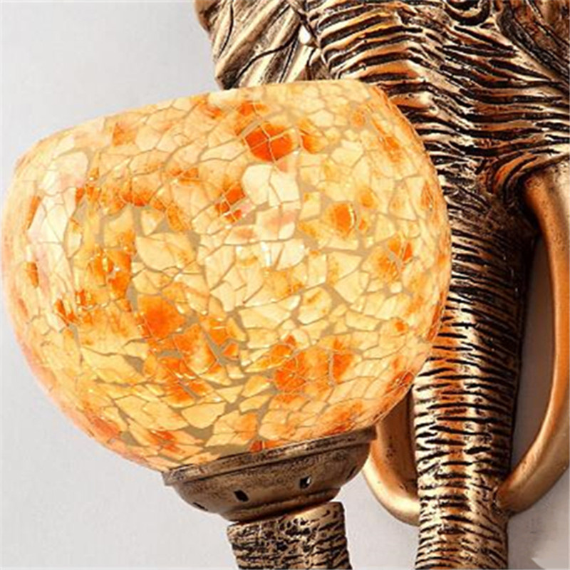 Wonderland China Southeast Asia Style Elephant Wall Lamp Luxury Lighting E27 Glass Lampshade Hot Sell For Home Top Fashion WL-2
