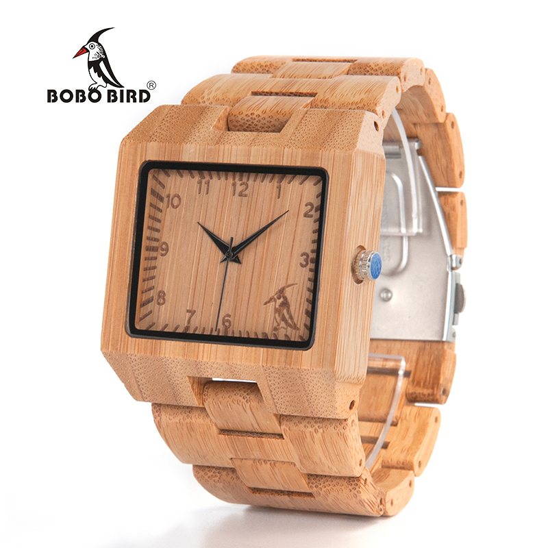 BOBO BIRD V-L22 High Quality Bamboo Wood Watch Men Quartz Analog Casual Watch With Gift Box bobo bird luxury bamboo wood men watch with engrave flower bamboo band quartz casual women watch full wooden watch in gift box