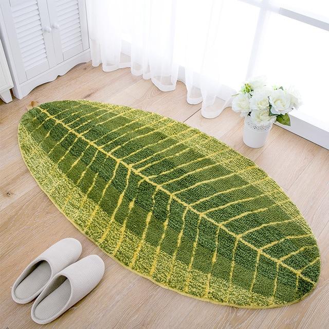 Leaf Shape Green Microfiber Carpet Absorbent Anti Slip Vacuum Pad Kitchen  Mat Door Bathroom Floor