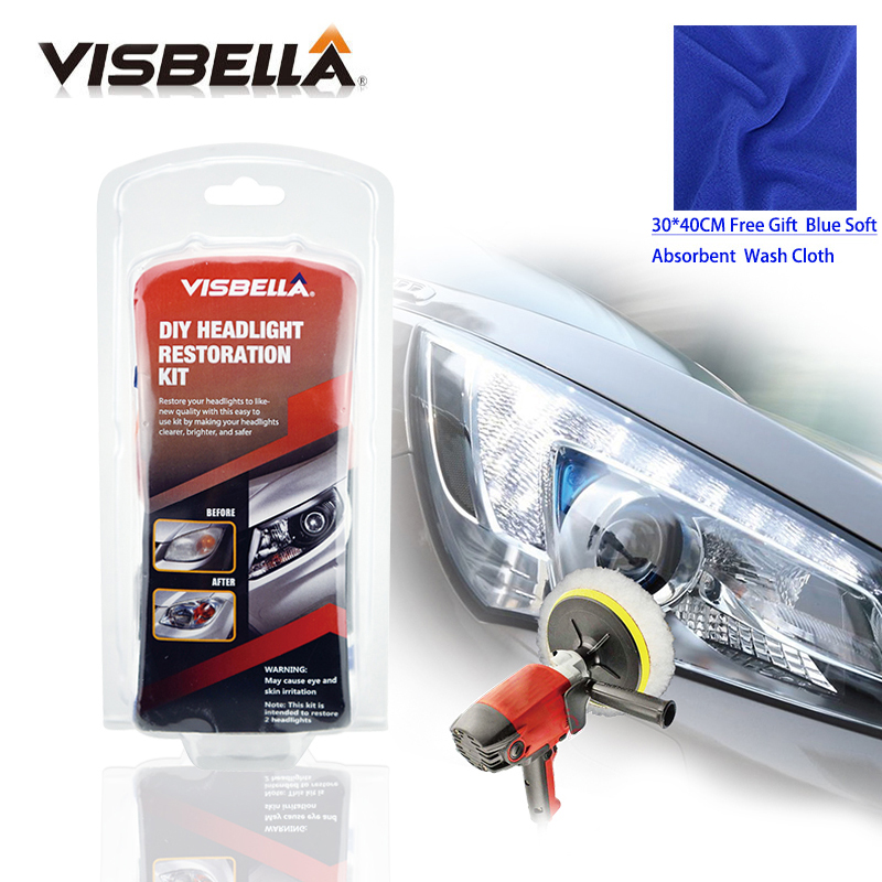 Visbella Headlight Restoration Kit DIY Headlamp Brightener For Car Auto Care Head Lamp Lense Repair Clean Light Polishing Paste(China)