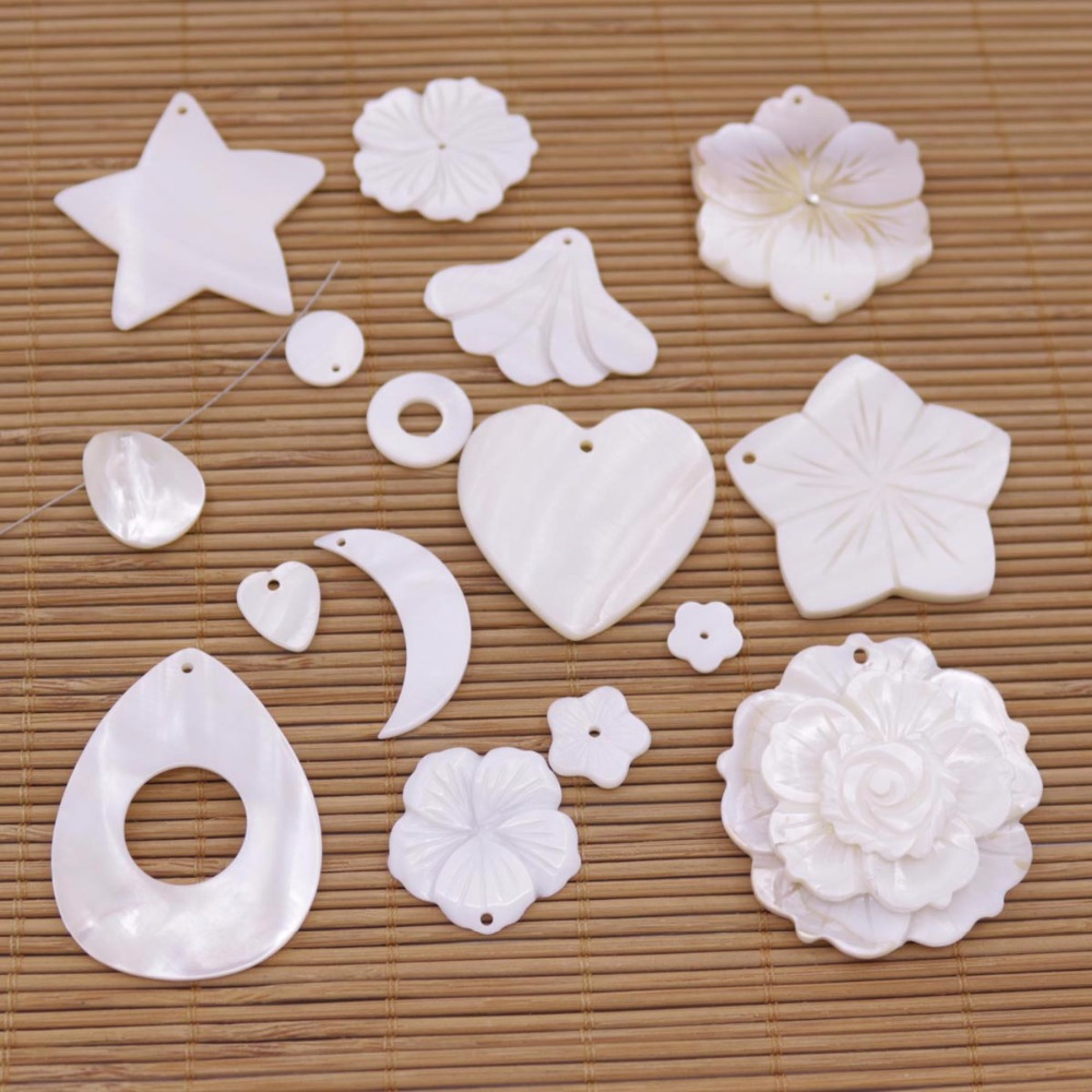 1 PCS Natural White Mother Of Pearl Shell For Pendant Making DIY Flower Moon Heart Star Shape Choose