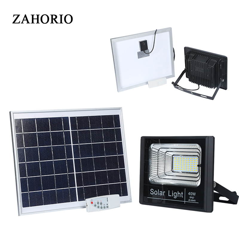 outdoor led solar lights waterproof IP67 floodlight 40W 60W 100W Spotlight solar panel 220V garden lamp