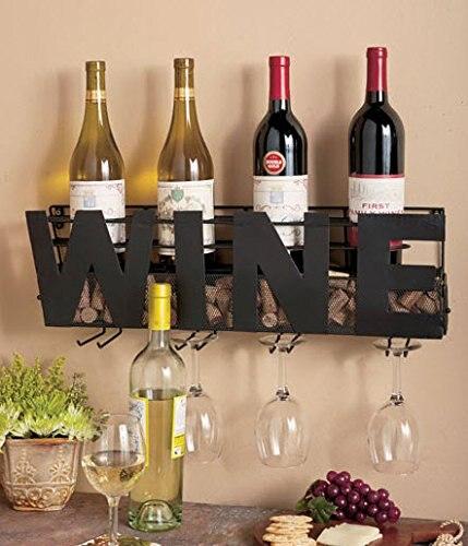 Support Mural en métal Bouteille de Vin Support Attente Vin Bouchons et Verres à Vin bouteilles de vin rack de stockage