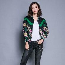 2016 Autumn New Slim Embroidered Short Jacket Bat Sleeve Stripped Woman Fashion Short Coat Female Autumn Jacket Elegant