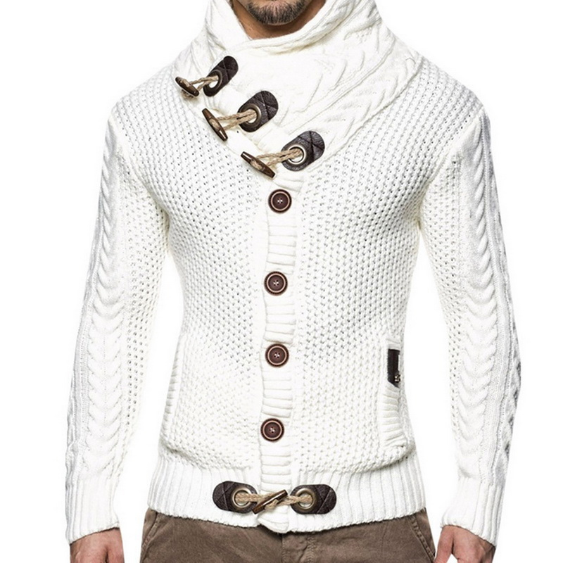Laamei Sweater Cardigan Jumper Turtleneck Knitting Autumn Winter Fashion Mens Warm Thick