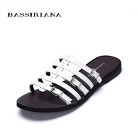BASSIRIANA Genuine Leather Flats Sandals For Woman Summer 2017 High Quality Shoes Woman 35 40 White