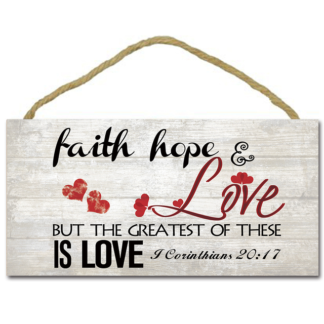 Faith Hope Love Sign Board,Wood Hanging Plaque,Vintage Hanging Board ...