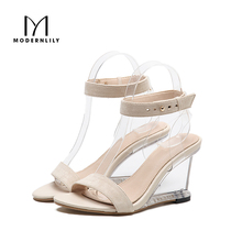 Super Heels Sandals Women Summer Ankle Strap Stripper Shoes Wedges Clear High Heels Jelly Sandals Women Sandalias Sandale Femme